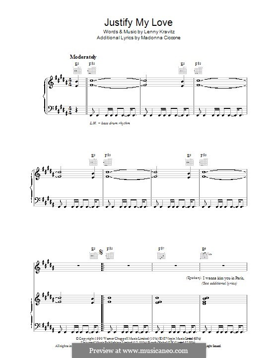 Justify My Love (Madonna): Para vocais e piano (ou Guitarra) by Lenny Kravitz