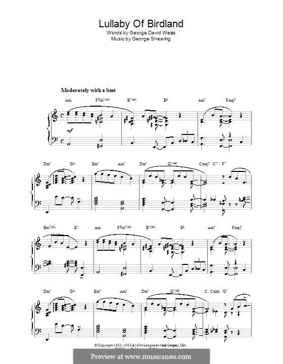 Lullaby of Birdland (Ella  Fitzgerald): para piano ( A menor) by George Shearing