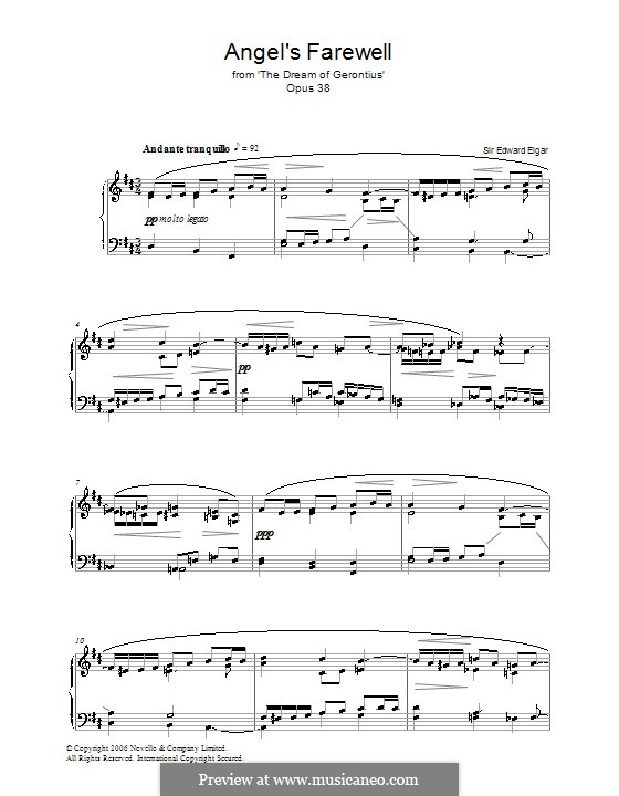 The Dream of Gerontius, Op.38: Angel's Farewell, for piano by Edward Elgar