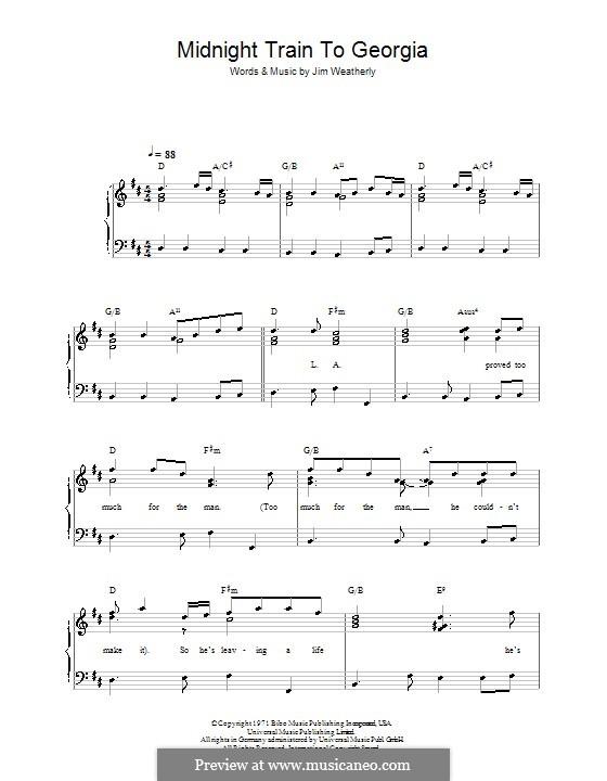 Midnight Train to Georgia (Gladys Knight and The Pips): Facil para o piano by Jim Weatherly