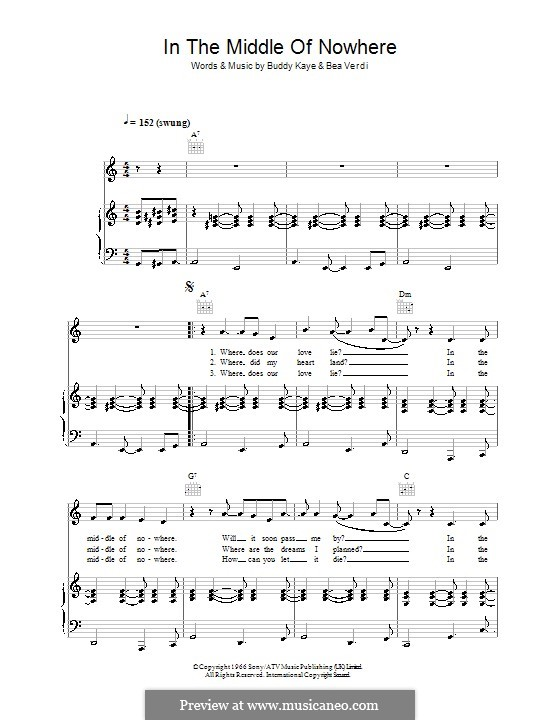 In the Middle of Nowhere (Dusty Springfield): Para vocais e piano (ou Guitarra) by Bea Verdi, Buddy Kaye