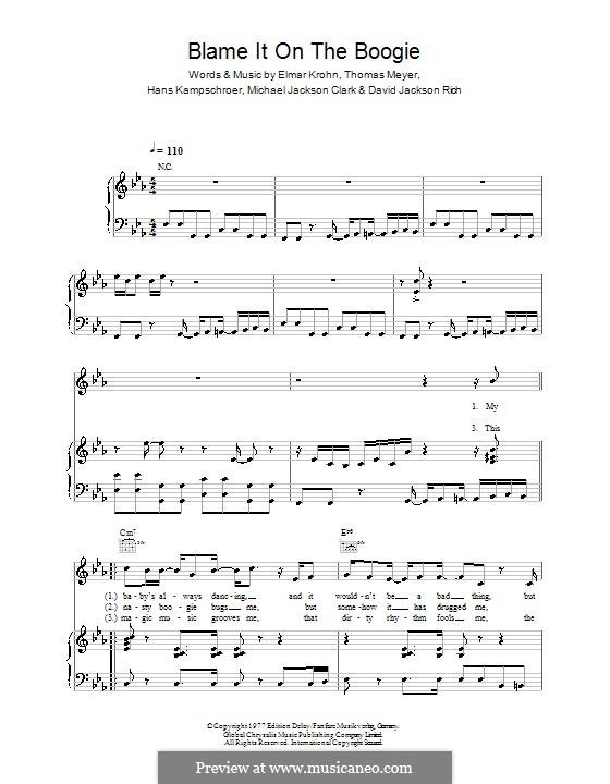 Blame It on the Boogie (The Jackson 5): Para vocais e piano (ou Guitarra) by David Jackson Rich, Elmar Krohn, Hans Kampschroer, Michael Jackson Clark, Thomas Meyer