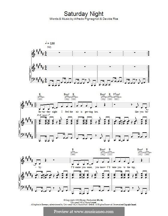 Saturday Night (Whigfield): Para vocais e piano (ou Guitarra) by Alfredo Pignagnoli, Davide Riva