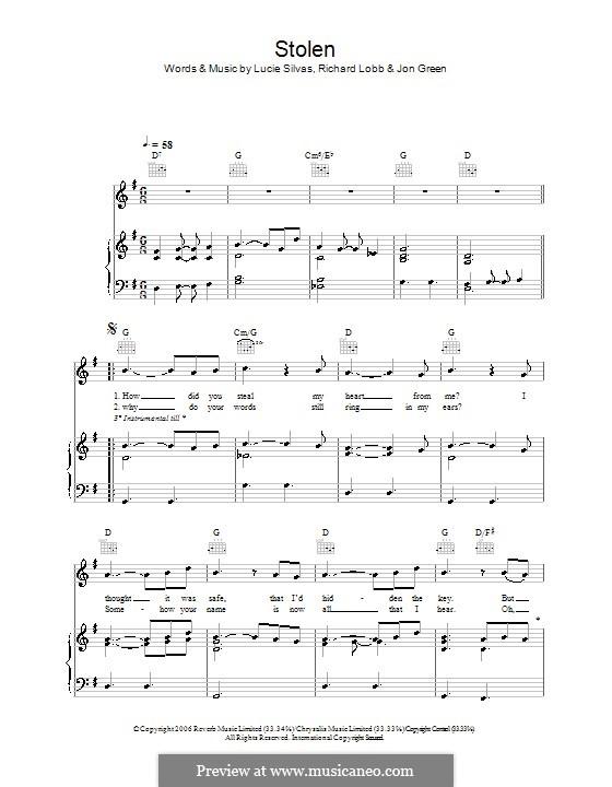 Stolen (Lucie Silvas): Para vocais e piano (ou Guitarra) by John W. Green, Richard Lobb