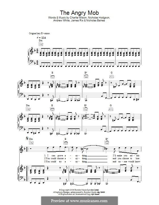 The Angry Mob (Kaiser Chiefs): Para vocais e piano (ou Guitarra) by Andrew White, James Rix, Nicholas Baines, Nicholas Hodgson, Charles Wilson