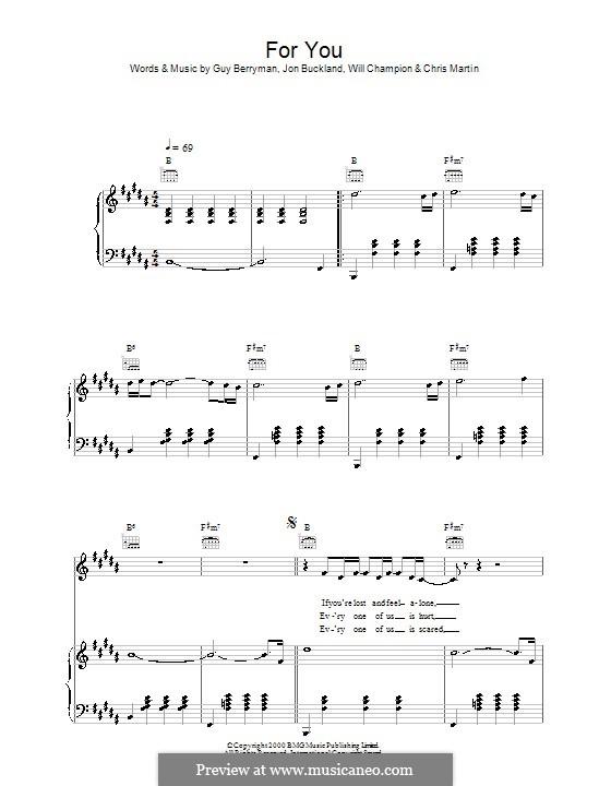 For You (Coldplay): Para vocais e piano (ou Guitarra) by Chris Martin, Guy Berryman, Jonny Buckland, Will Champion