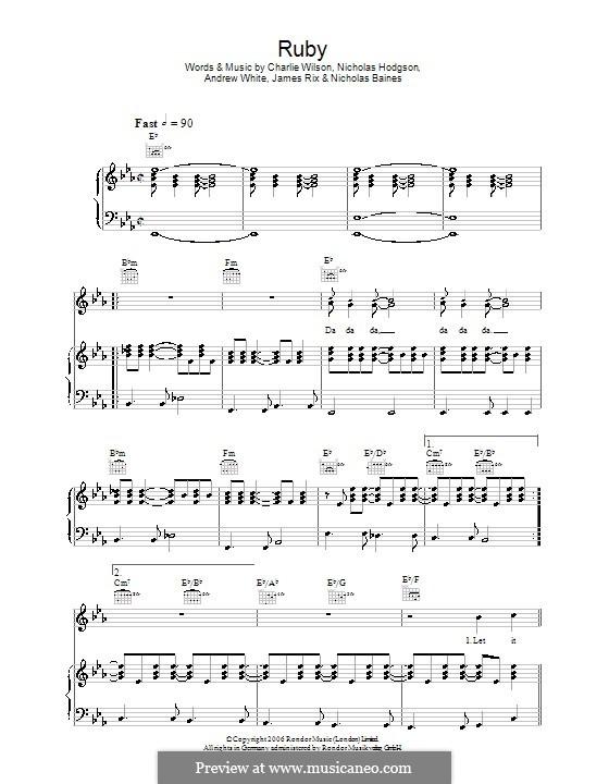 Ruby (Kaiser Chiefs): Para vocais e piano (ou Guitarra) by Andrew White, James Rix, Nicholas Baines, Nicholas Hodgson, Charles Wilson
