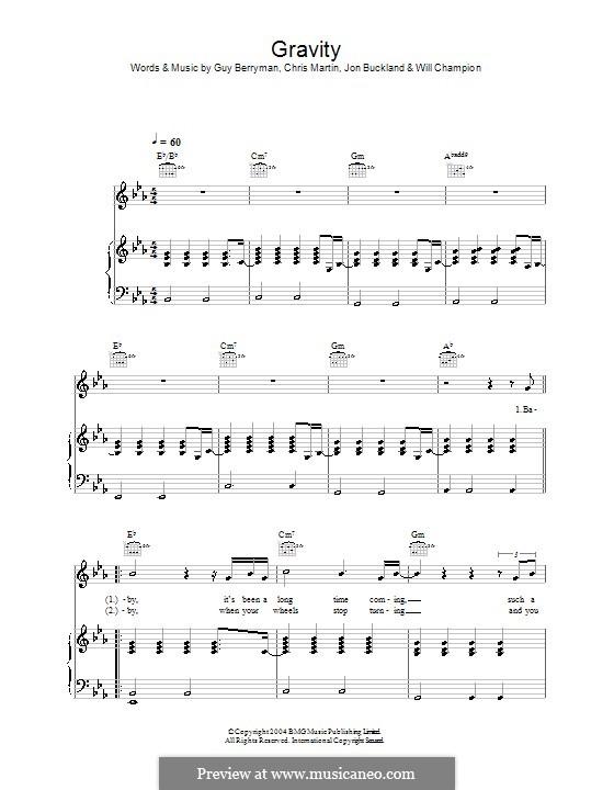 Gravity (Embrace): Para vocais e piano (ou Guitarra) by Chris Martin, Guy Berryman, Jonny Buckland, Will Champion