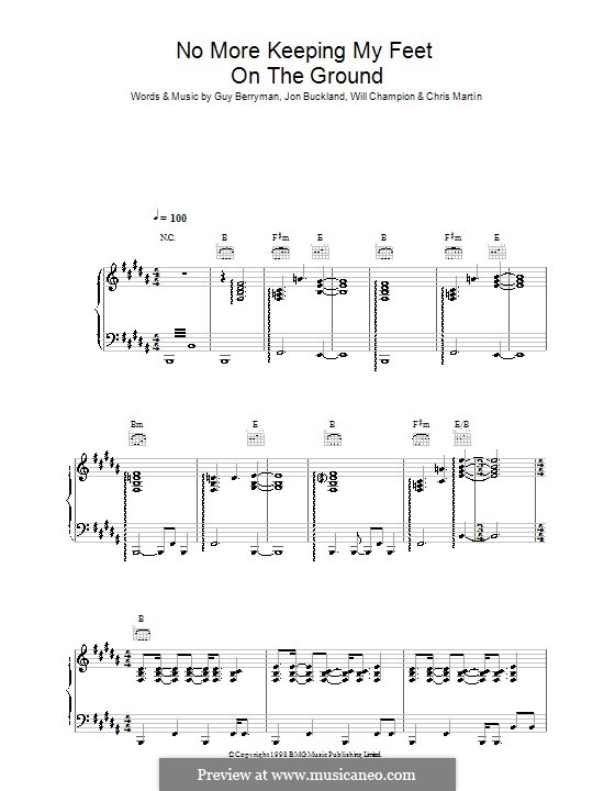 No More Keeping My Feet on the Ground (Coldplay): Para vocais e piano (ou Guitarra) by Chris Martin, Guy Berryman, Jonny Buckland, Will Champion
