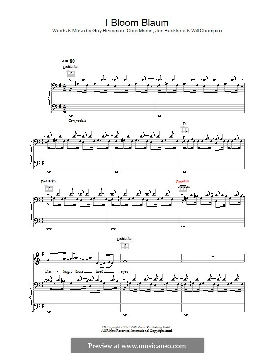 I Bloom Blaum (Coldplay): Para vocais e piano (ou Guitarra) by Chris Martin, Guy Berryman, Jonny Buckland, Will Champion