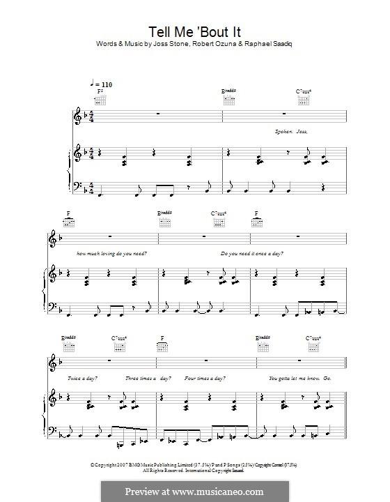 Tell Me 'Bout It (Joss Stone): Para vocais e piano (ou Guitarra) by Raphael Saadiq, Robert Ozuna