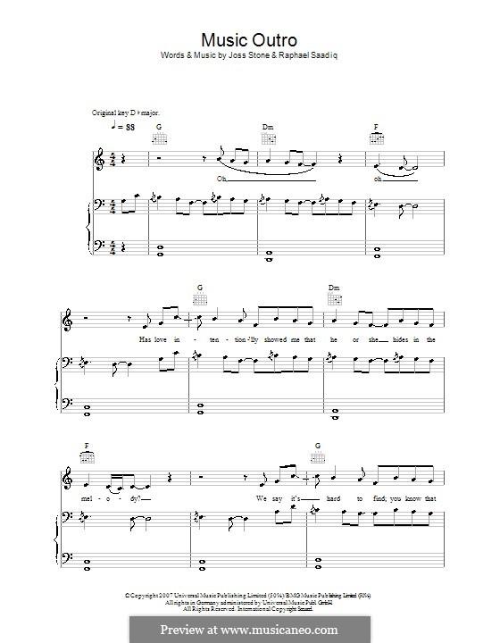 Music (Outro): Para vocais e piano (ou Guitarra) by Raphael Saadiq