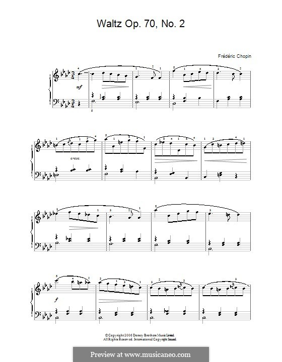 Waltzes, Op. posth.70: No.2 in F Minor. Version for easy piano by Frédéric Chopin