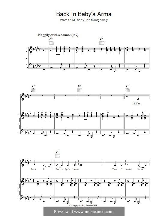 Back in Baby's Arms (Patsy Cline): Para vocais e piano (ou Guitarra) by Bob Montgomery
