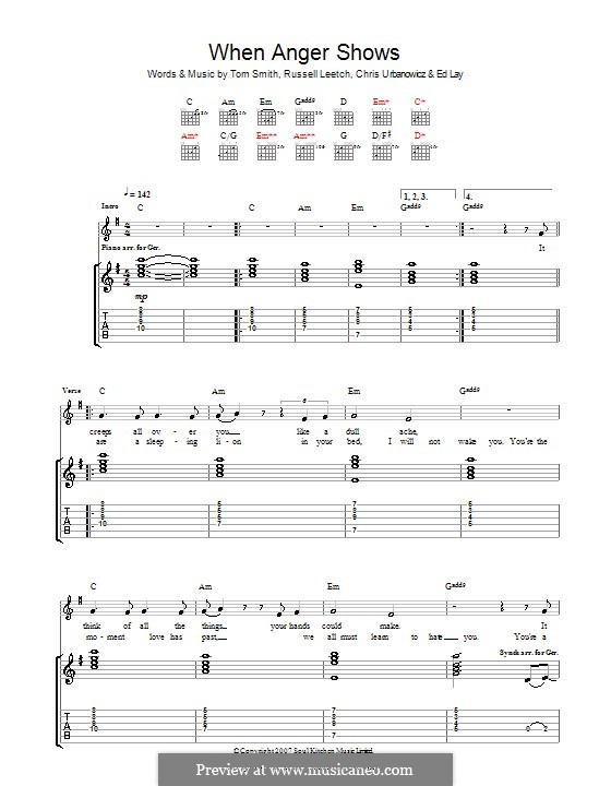 When Anger Shows (Editors): Para guitarra com guia by Christopher Urbanowicz, Edward Lay, Russell Leetch, Thomas Henry Smith