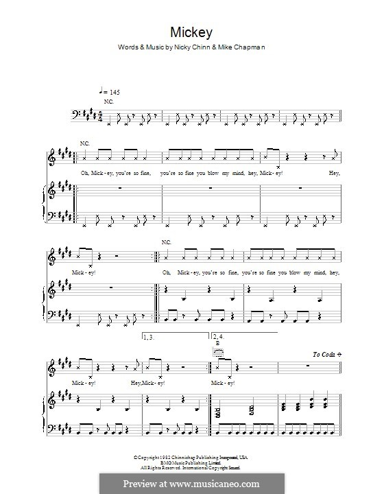 Mickey (Toni Basil): Para vocais e piano (ou Guitarra) by Mike Chapman, Nicky Chinn