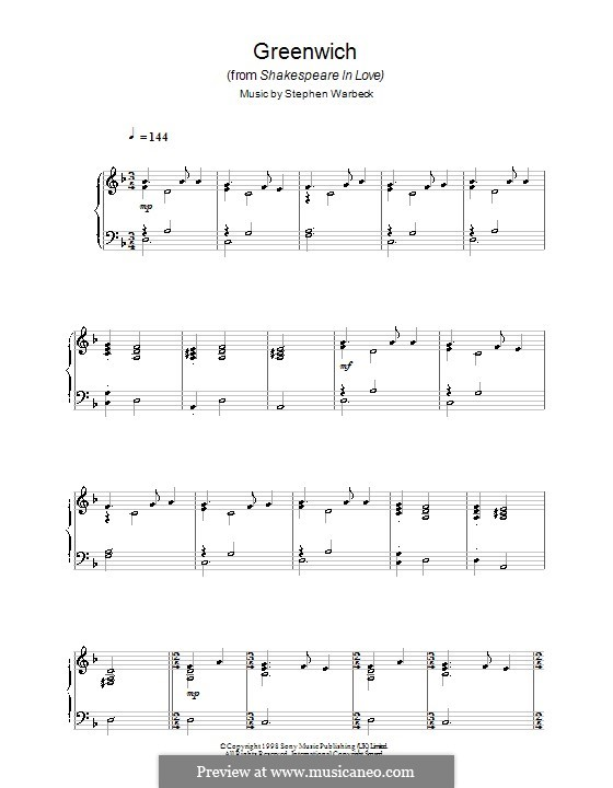 Greenwich (from Shakespeare in Love): Para Piano by Stephen Warbeck