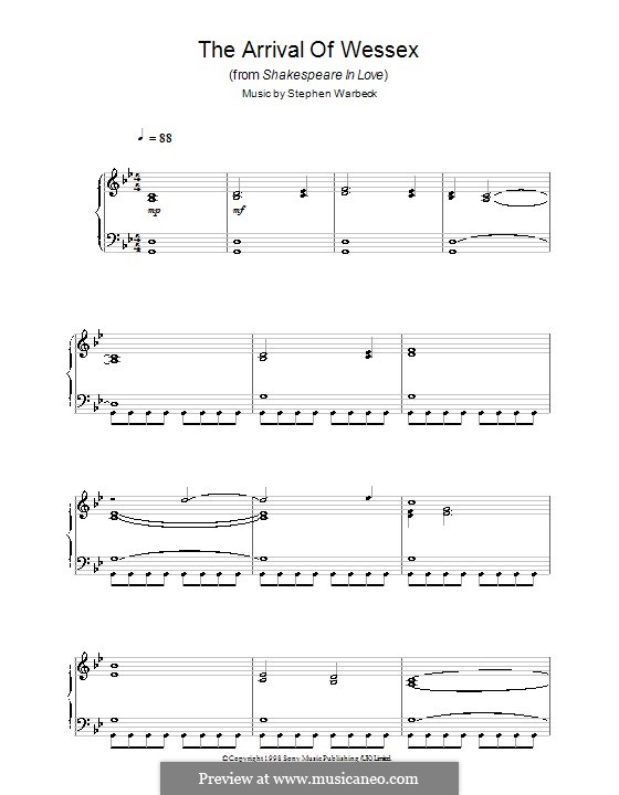 The Arrival of Wessex (from Shakespeare in Love): Para Piano by Stephen Warbeck