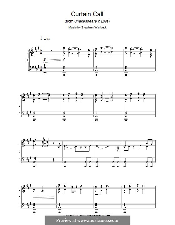 Curtain Call (from Shakespeare in Love): Para Piano by Stephen Warbeck