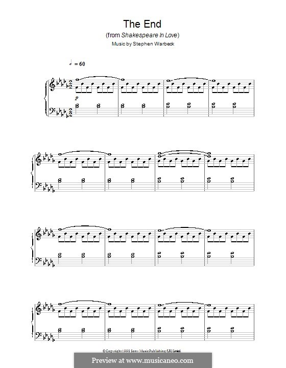The End (from Shakespeare in Love): Para Piano by Stephen Warbeck