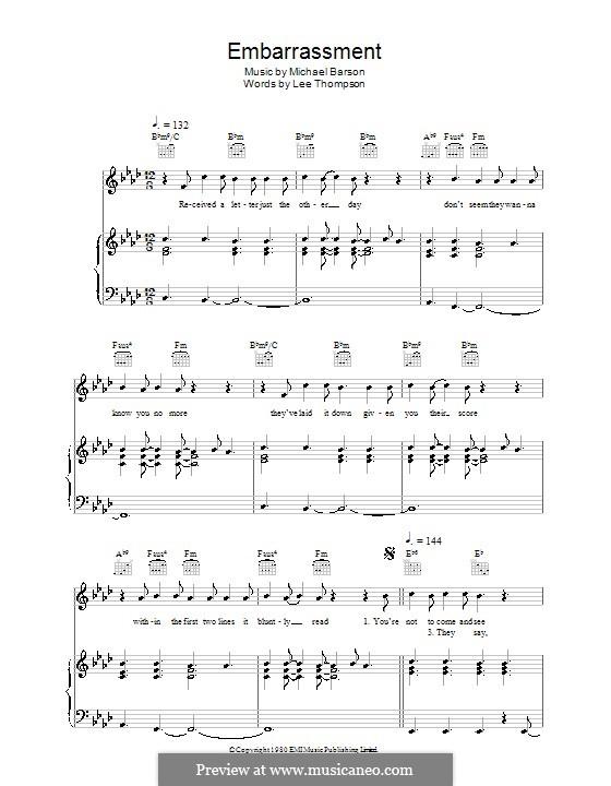 Embarrassment (Madness): Para vocais e piano (ou Guitarra) by Lee Thompson, Mike Barson