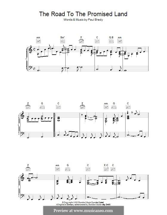 The Road to the Promised Land: Para vocais e piano (ou Guitarra) by Paul Brady