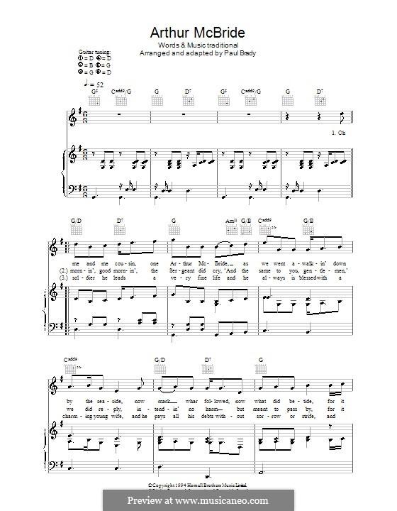 Arthur McBride: Para vocais e piano (ou Guitarra) by folklore