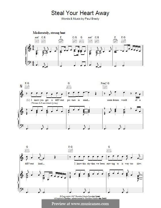 Steal Your Heart Away: Para vocais e piano (ou Guitarra) by Paul Brady