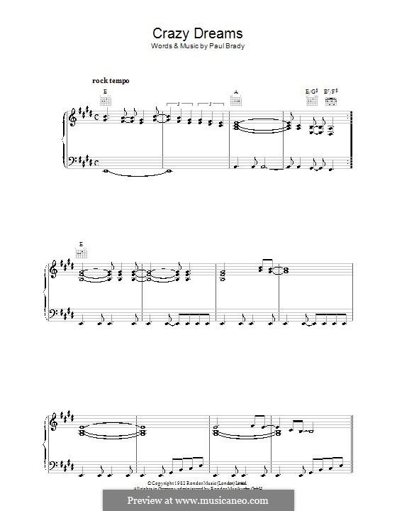 Crazy Dreams: Para vocais e piano (ou Guitarra) by Paul Brady