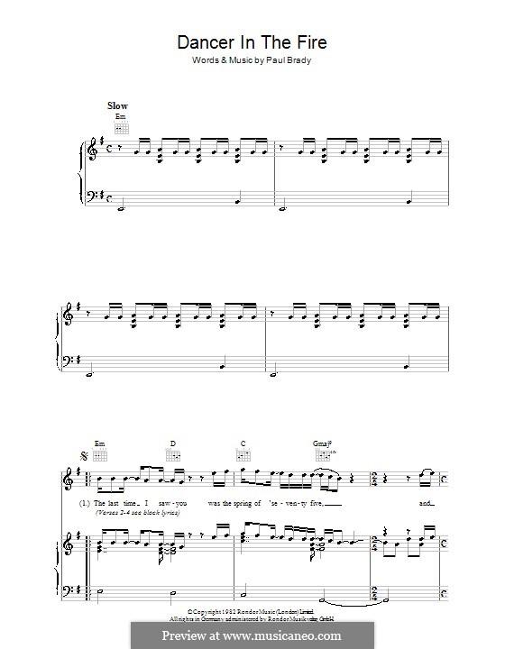 Dancer in the Fire: Para vocais e piano (ou Guitarra) by Paul Brady