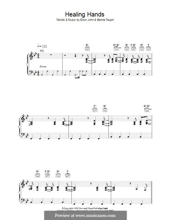 Healing Hands: Para vocais e piano (ou Guitarra) by Elton John