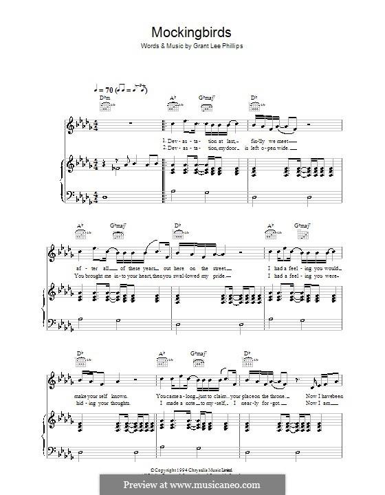Mockingbirds (Grant Lee Buffalo): Para vocais e piano (ou Guitarra) by Grant Lee Phillips