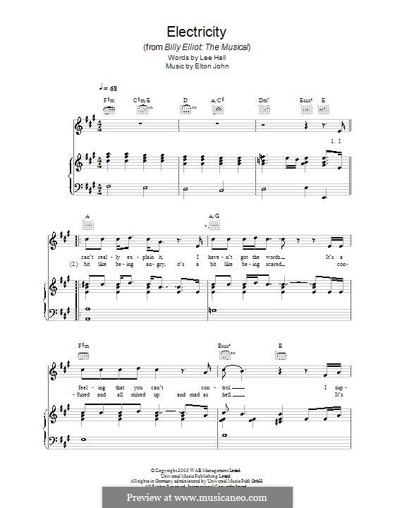 Electricity: Para vocais e piano (ou Guitarra) by Elton John
