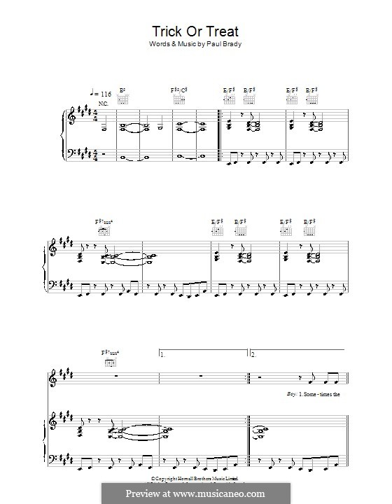Trick or Treat: Para vocais e piano (ou Guitarra) by Paul Brady