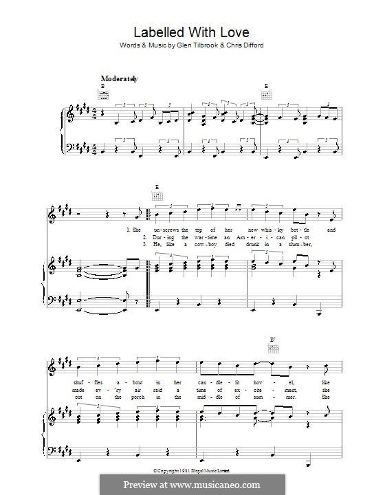 Labelled with Love (Squeeze): Para vocais e piano (ou Guitarra) by Christopher Difford, Glenn Tilbrook