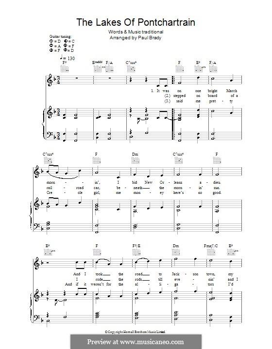 The Lakes of Pontchartrain: Para vocais e piano (ou Guitarra) by folklore