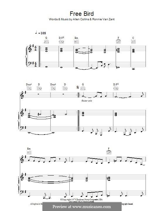 Free Bird (Lynyrd Skynyrd): Para vocais e piano (ou Guitarra) by Allen Collins, Ronnie Van Zant