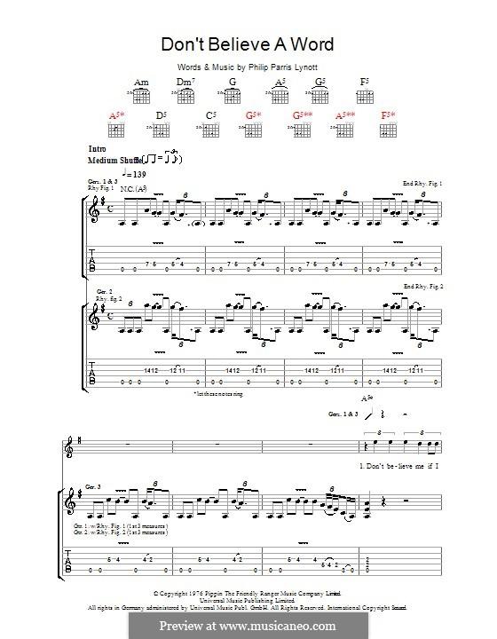 Don't Believe a Word (Thin Lizzy): Para guitarra com guia by Phil Lynott