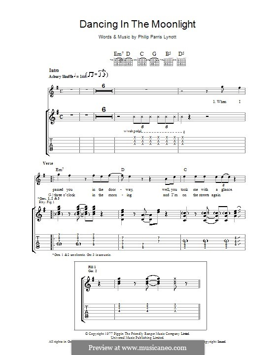 Dancing in the Moonlight (Thin Lizzy): Para guitarra com guia by Phil Lynott