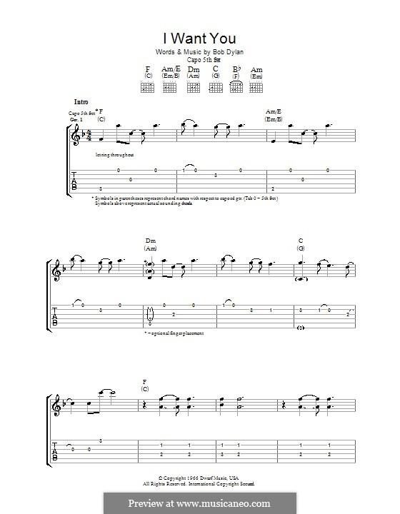 I Want You: Para guitarra com guia by Bob Dylan