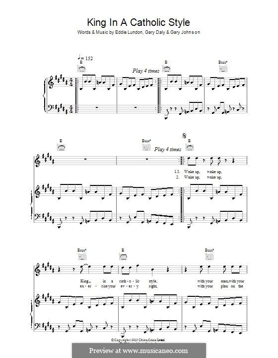 King in a Catholic Style (China Crisis): Para vocais e piano (ou Guitarra) by Eddie Lundon, Garry Johnson, Gary Daly