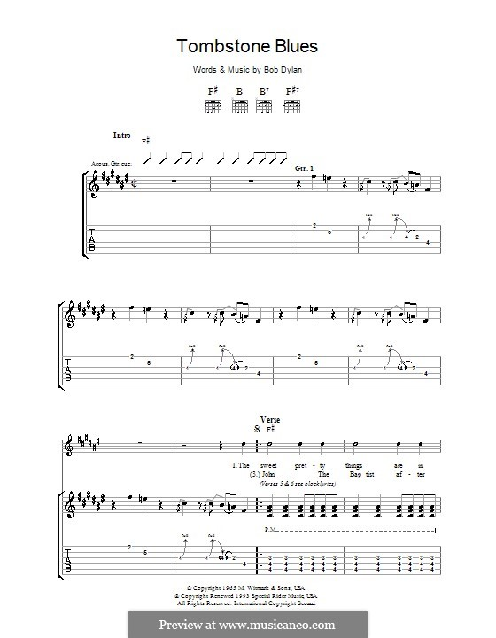 Tombstone Blues: Para guitarra com guia by Bob Dylan
