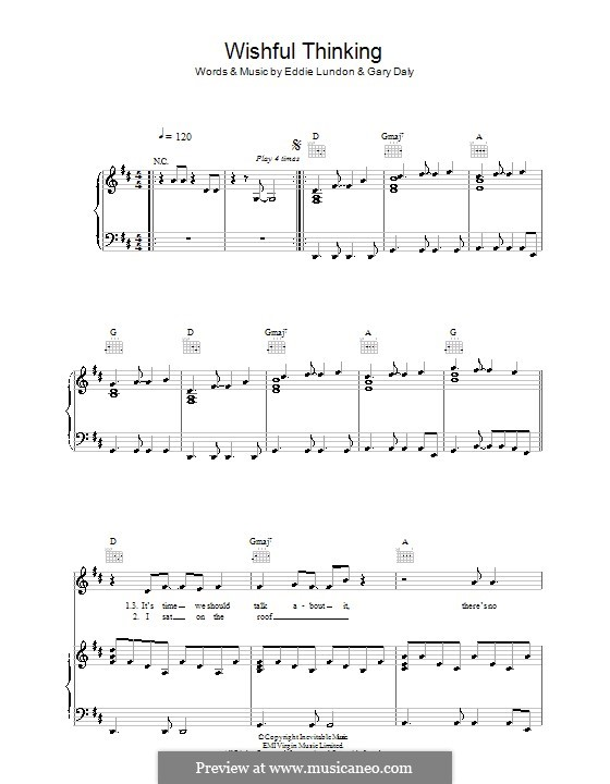 Wishful Thinking (China Crisis): Para vocais e piano (ou Guitarra) by Eddie Lundon, Gary Daly