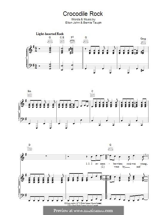 Crocodile Rock: Para vocais e piano (ou Guitarra) by Elton John
