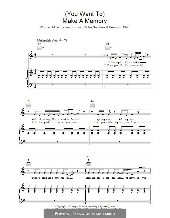 (You Want To) Make a Memory (Bon Jovi): Para vocais e piano (ou Guitarra) by Desmond Child, Jon Bon Jovi, Richie Sambora