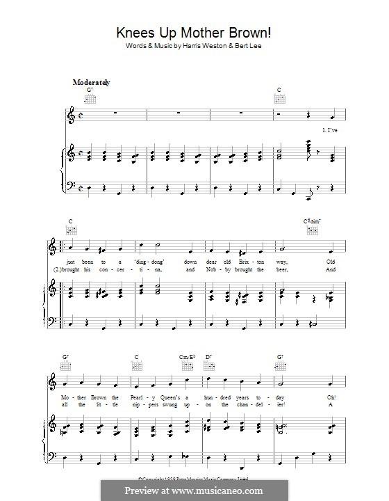Knees Up Mother Brown: Para vocais e piano (ou Guitarra) by Bert Lee