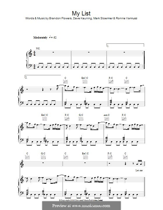 My List (The Killers): para vocais,piano ou guitarra by Brandon Flowers, Dave Keuning, Mark Stoermer, Ronnie Vannucci