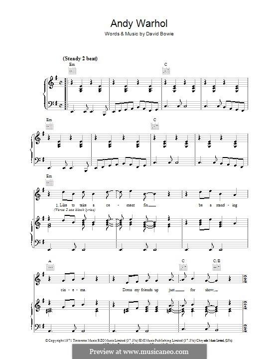 Andy Warhol: Para vocais e piano (ou Guitarra) by David Bowie