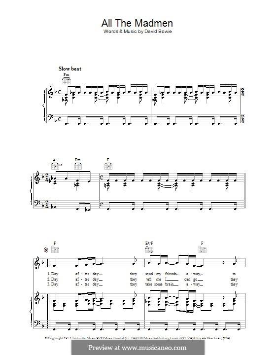 All the Madmen: Para vocais e piano (ou Guitarra) by David Bowie