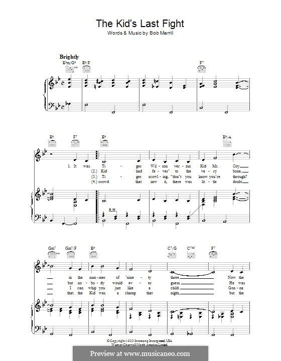 The Kid's Last Fight: Para vocais e piano (ou Guitarra) by Bob Merrill